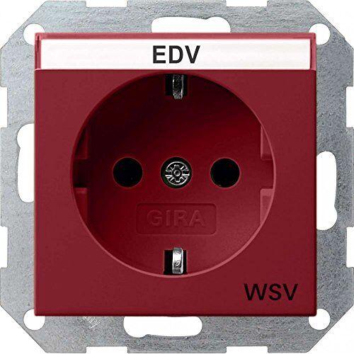 Gira 047402 Schuko stopcontact labelveld extra veiligheidsvoorziening systeem 55, rood