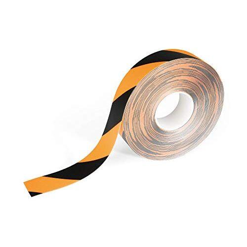Durable 1043130 Duraline vloermarkeerband, tweekleurig, zelfklevend en verwijderbaar, 50 mm x 0,5 mm x 15 m, geel/zwart
