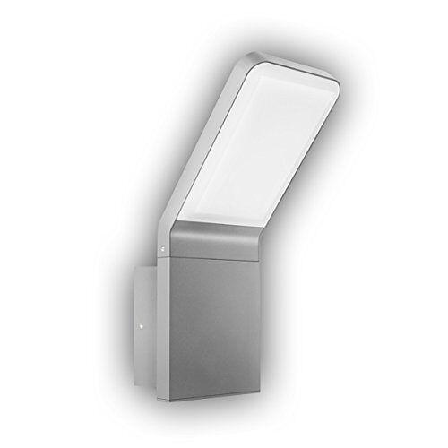 GEV LED buitenmuur licht FREYA, hellende lampkop, IP 54, 570 lumen, 3000 K, verlichting warm wit, aluminium, 9,5 W, zilvergrijs, 16,5 x 10 x 25,6 cm