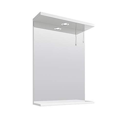 VeeBath BB.NMW550 Linx Badkamer Wandmontage Spiegel Hoogglans Wit 18mm MDF Structuur met Laagspanning Licht en Plank-550mm