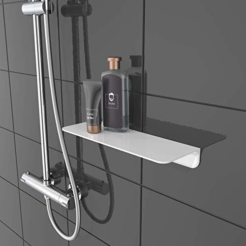 SCHÜTTE 10500 Doucheplank, zelfklevend, zonder boren, badkamerrek, wit, badkamerplank om te plakken, wandplank, badkamerrek voor badkamer