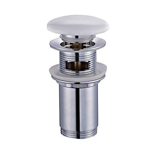 Kibath 215171 Clic Clac ventiel van wit porselein, universeel geschikt voor de meeste wasbakken van messing, glanzend verchroomd