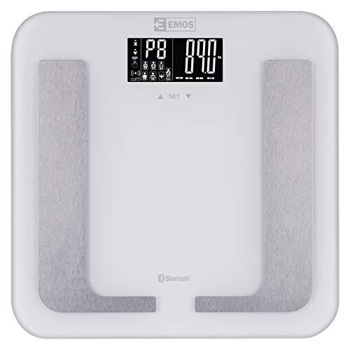 EMOS EV107 Digitale personenweegschaal met BMI en bluetooth, weegschaal/lichaamsvetweegschaal, digitale weegschaal van veiligheidsglas, meet lichaamsvet, spiermassa, water, batterijen inbegrepen
