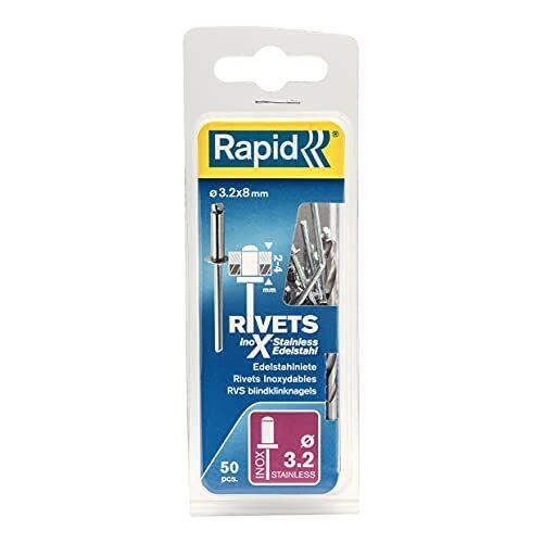 RAPID 5000393 3,2 x 8 mm blindklinknagel roestvrijstaal 50 stuks incl. boor, ø 3,2 mm