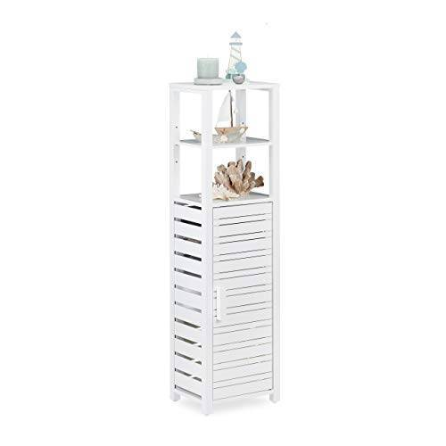 Relaxdays , wit badkamerrek bamboe met deur, staand rek, badkamerrek, met 6 vakken, hoog, h x b x d 119 x 33 x 25,5 cm