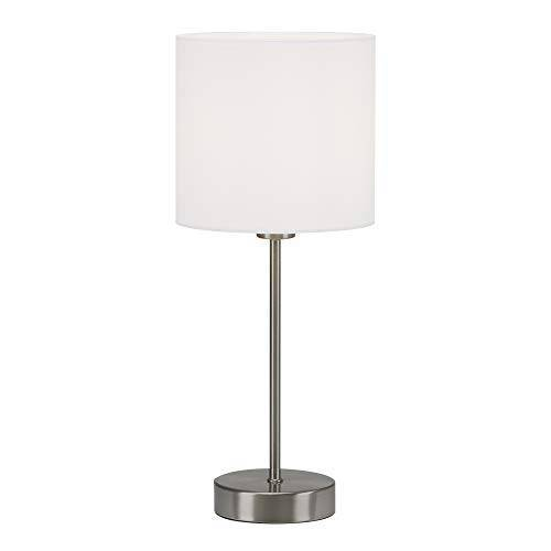 Briloner Leuchten Tafellamp, tafellamp, bedlamp, bedlamp, bureaulamp, 1x E14, incl. kabelschakelaar, stoffen kap, wit, 160x385mm (DxH), 7002-016