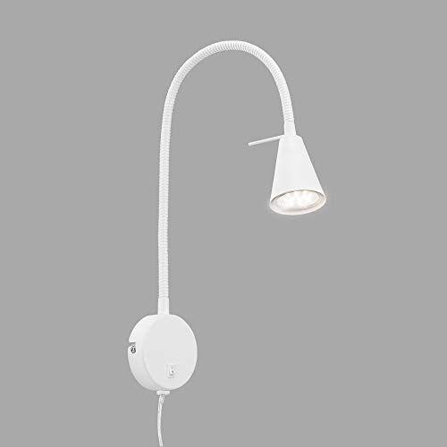 Briloner Leuchten LED-bedlamp, bedlamp flexarm, incl. aan-/uitschakelaar, 4 watt, 400 lumen, 3.000 Kelvin, metaal, wit, 4 W