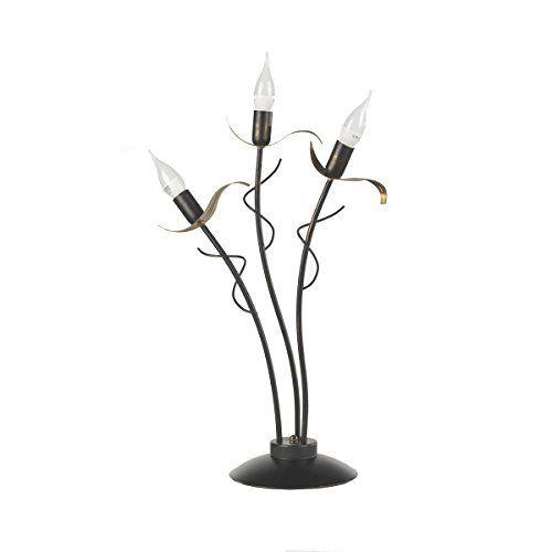 ONLI Lüge tafellamp 3 lampen E14, bruin/goud, 38 cm x h 60 cm