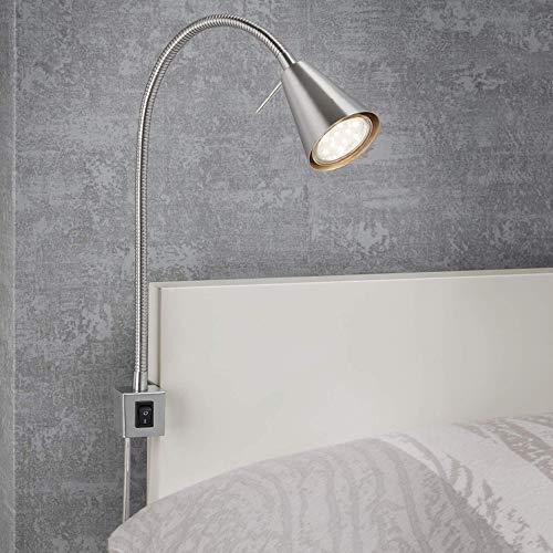 Briloner Leuchten LED bedlamp, bedlamp Flexarm, incl. aan-/uitschakelaar, 4 watt. 400 lumen, 3.000 Kelvin, 4 W, mat nikkel