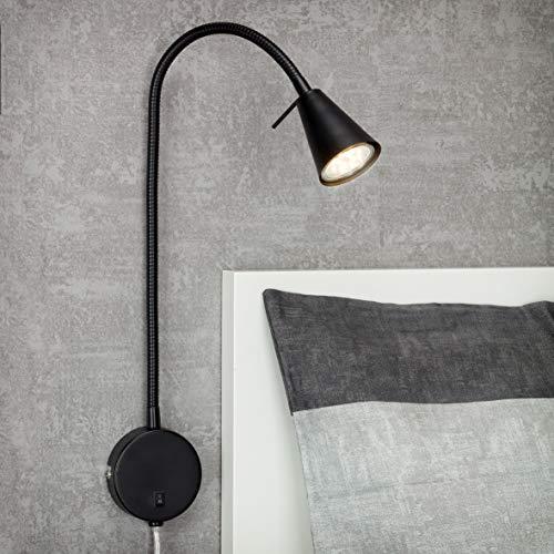 Briloner Leuchten LED bedlamp, bedlamp Flexarm, incl. aan/uit-schakelaar, 4 watt, 400 lumen, 3.000 Kelvin, metaal, zwart, 4 W