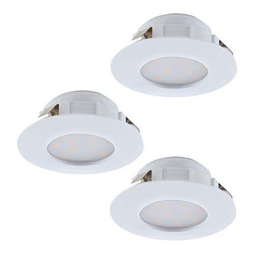 Eglo Set van 3 LED inbouwspots Pineda, LED spots set van kunststof, 3 LED inbouwlampen in wit, inbouwspots LED plat, inbouwspot set warm wit, Ø 7,8 cm