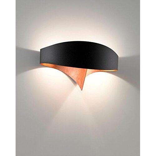 SELENE wandlamp, 11 W, zwart met koperblad