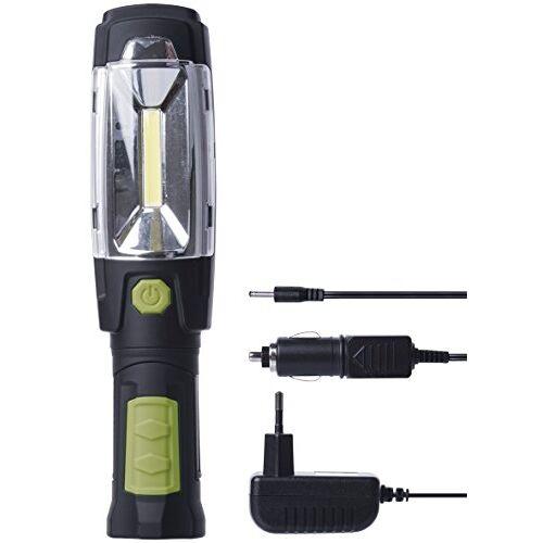 EMOS COB LED werklamp/werkplaatslamp met magneet en haak, 40 uur brandduur, lichtstroom 160 lumen, 20 m lichtbereik, werkt op batterijen, zwart, groen, 24,5 x 5,5 x 40,5 cm, P4518