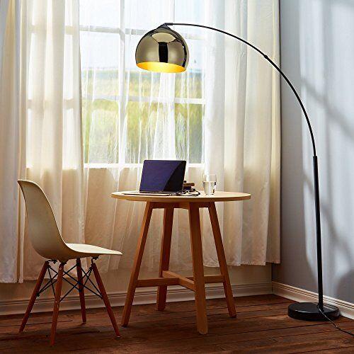 Versanora Staande lamp booglamp lampenkap goud marmer zwart VN-L00012-EU