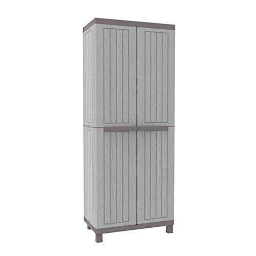 Terry C-Wood 3680 hoge kast van kunststof, bezemkast, grijs/taupé, 68 x 39 x 170 cm