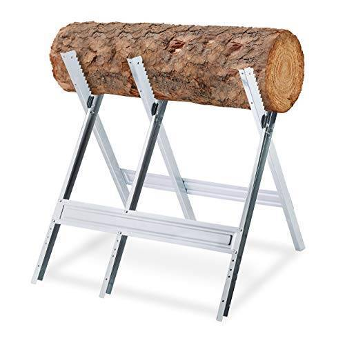 Relaxdays Zaagbok, houtzaagwerk, inklapbaar, zaagframe voor kettingzagen, staal, H x B x D: 81 x 75,5 x 81 cm, zilver