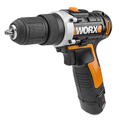 WORX WX128 Accuschroevendraaier, 12 V, 25 Nm, 2 versnellingen en ledlicht, accuboorschroevendraaierset voor boren en schroeven, met Li-ion-accu, oplader en koffer