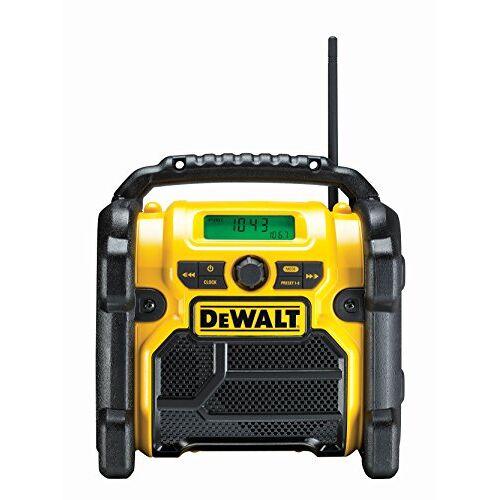DeWalt Bouwplaatsradio DCR019 – 2-in-1 accu radio & netradio met AUX-ingang, robuuste behuizing, kabelopslag, flexibele antenne en rolbeugel – draagbare radio voor ontvangst van analoge signalen