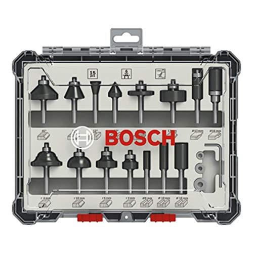 Bosch 15e frezenset (voor hout, accessoire bovenfrezen met schacht van 6 mm)