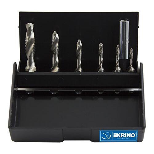 KRINO 19020213 HSS Combi schroef Bits met 1/4-inch zeshoekige schacht voor staal en metalen, 7-delige set