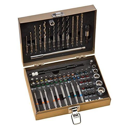 kwb Max-Box 67-dlg. Boor en bitset, bestaande uit bits, boren, lange bits, steekmoeren, steenboren en houtboren in een stevige metalen koffer
