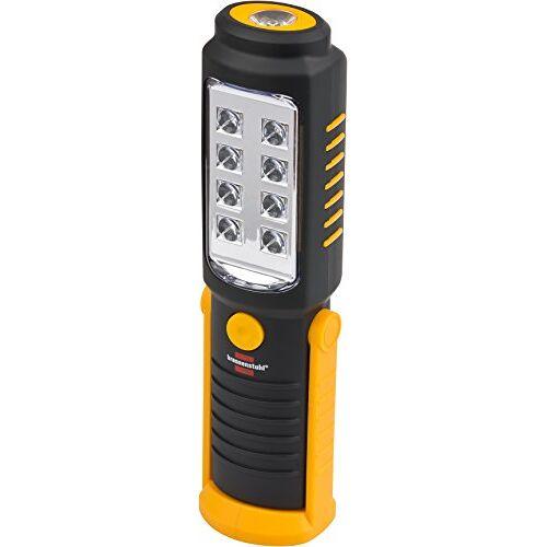 Brennenstuhl LED zaklamp met batterij/SMD LED handlamp met 250+100lm (werkplaatslamp met max. 10h brandduur, draaibare haak en magneet)
