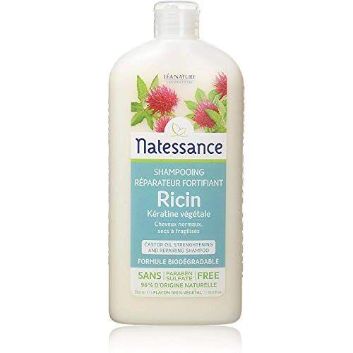 Natessance Castor Oil and Plant-afgeleide keratine Shampoo voor haar versterking en reparatie Shampoo (parabenen en sulfaatvrije Shampoo, 96% natuurlijk), wit, 500 milliliter