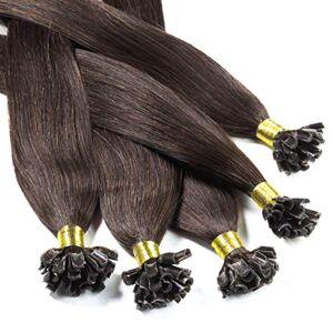 hair2heart Bonding Extensions, 50 x 0,5 g, glad 30 cm #4 Bruin.