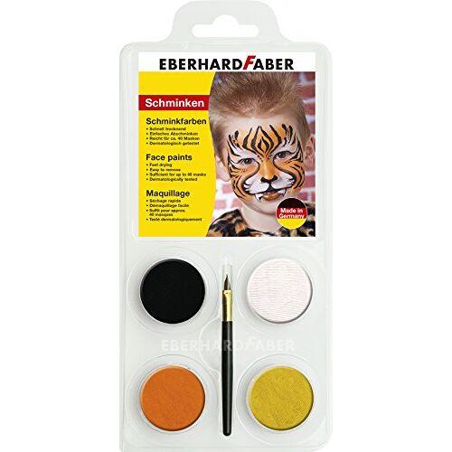 Eberhard Faber 579013 Tiger Make-upset voor kinderen, kleuren zwart, wit, oranje en oker, inclusief kwast, wateroplosbaar, sneldrogend, voor het beschilderen van gezichten