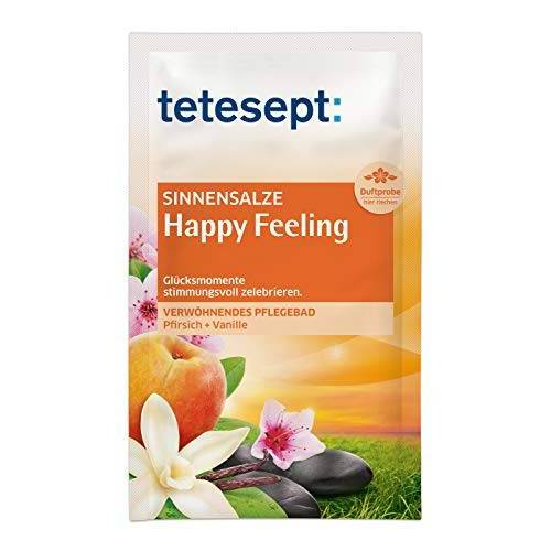 Tetesept badzout sensuele tijd voor jou Happy Feeling perzik + vanille 10 x 60 g