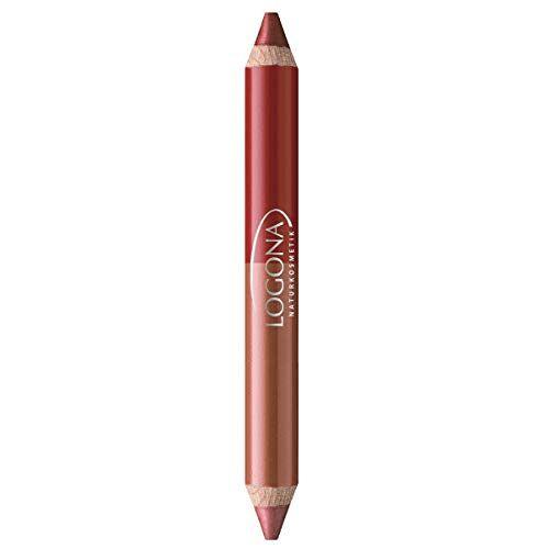 LOGONA Naturkosmetik Double Lip Pencil No. 05 Roby Red, Natural Make-up, lippenstift, afgestemde kleurnuances, met anti-aging complex, biologische extracten, 4,67 g