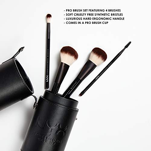 NYX PROFESSIONAL MAKEUP Borstelset, premium synthetisch gezichtspoeder, blending blush, oogschaduwkwast, make-up-kwast, set met penseelschaal (5 stuks, zwart)