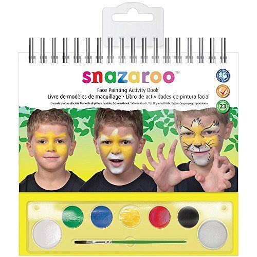 Snazaroo Make-upkleuren gezichtsset, make-uppalet met kwast, 1 sponsje en make-upboek, 6 kleuren