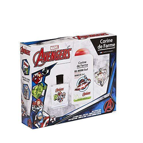 Corine de Farme Marvel Avengers cadeauset, kindergeur, 50 ml, douchegel voor kinderen, 250 ml, sleutelhanger, gemaakt in Frankrijk