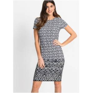 bonprix Jersey jurk met print  - Dames - Size: 32/34