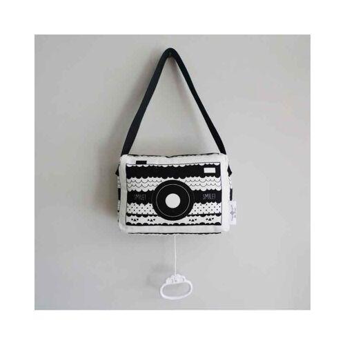 Hip Huisje muziekdoosje fototoestel zwart wit - Muziekdoosje