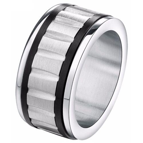 Gegroefde stalen heren ring Zwart Zilver -21mm