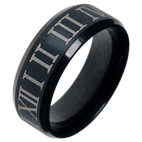 Zwarte stalen ring met Romeinse Cijfers-21.5mm