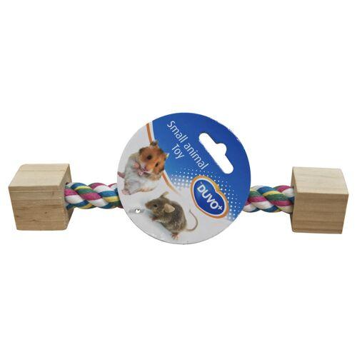 Duvo+ Knaagdier speeltouw met houten blokken