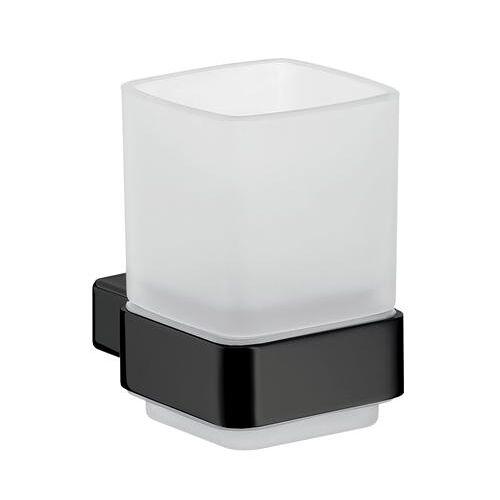 Emco Loft glashouder wandmodel kristalglas gesatineerd mat zwart 052013300