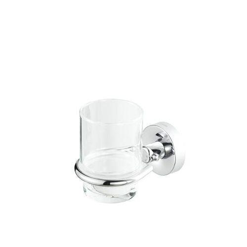 Geesa Luna glashouder, messing, verchroomd, met beker, hxbxd 102x85x125mm, kleur chroom