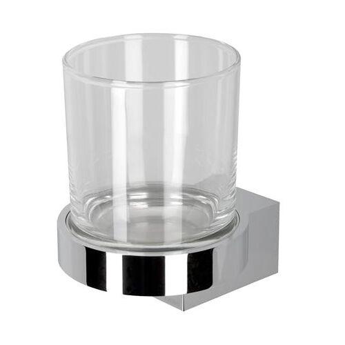 Geesa Nexx glashouder, messing, verchroomd, met beker, hxbxd 109x82x102mm, kleur chroom