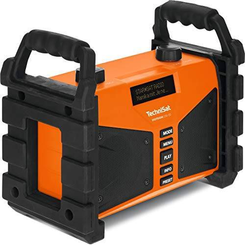 0000/3907 TechniSat Digitradio 230 OD DAB+ bouwplaatsradio (DAB+, DAB, FM, USB, AUX in, Bluetooth, krachtige batterij, favorietengeheugen, 2 x 6 Watt stereo luidsprekers) oranje