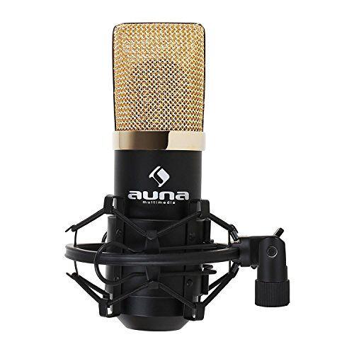 4260359381588 Auna MIC-900BG condensatormicrofoon USB-microfoonstudio (cardioïde, voor pc, MAC, incl. Microfoonspin en statiefadapter) zwart-goud