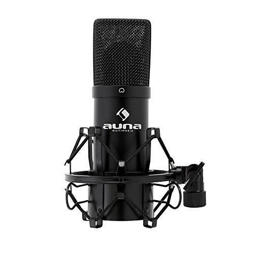 HKMIC-900-B auna MIC-900B, USB condensatormicrofoon, gamingmicrofoon, vloermicrofoon voor zang- en stemopnames, pc en studio, 16 mm capsule, 320 Hz 18 kHz, zwart