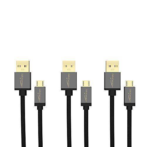 853 KabelDirekt Micro USB kabel 3x 0,5m (USB 2.0, oplaadkabel/datakabel, Micro USB toestellen, zwart nylon) PRO Series