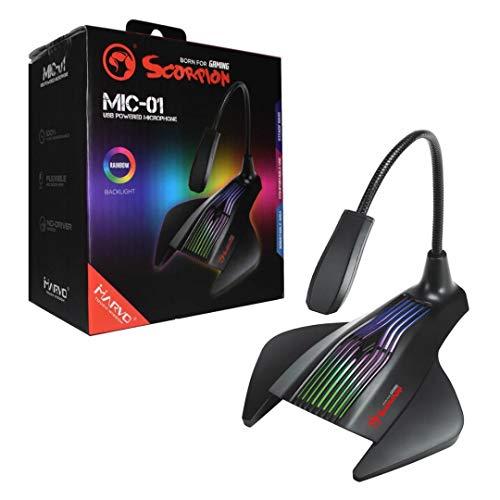 MIC-01 Marvo Scorpion  Flexibele USB Notebook PC tafel Microfoon Microfoon Microfoon Microfoon Geluidsopnemer RGB 1, 5 m kabel