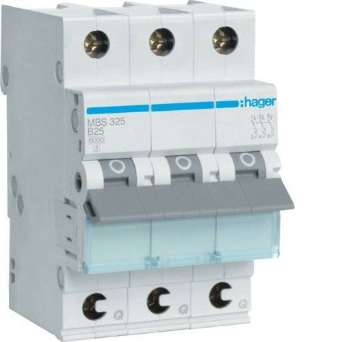 MBS325 Hager  korte schakeling, type 3, 3 modules, korte circuit (25 A, 50 – 60 Hz, B-type, 3 modules, -25 – 60 C, -25 – 80 C)