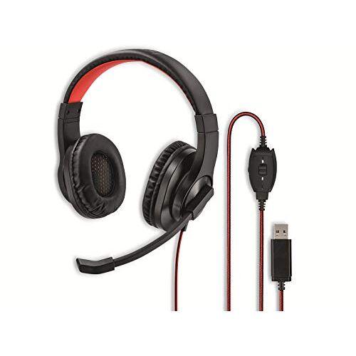 139927 Hama USB-headset, over-ear hoofdtelefoon met microfoon (headset met volumeregelaar en verstelbare microfoonarm, voor videoconferenties, thuiskantoor, callcenter, eLearning, USB-A-stekker) zwart, rood