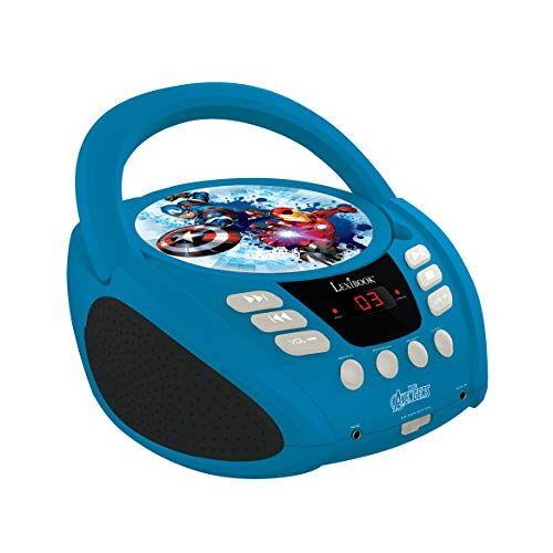 RCD108AV Lexibook Marvel The Avengers Iron Man Gettoblaster CD-speler, microfoon meegeleverd, AUX-IN-aasluiting, Werk met AC of batterij, Blauw/Zwart, _10
